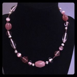 Pink glass beaded necklace by Lia Sophia